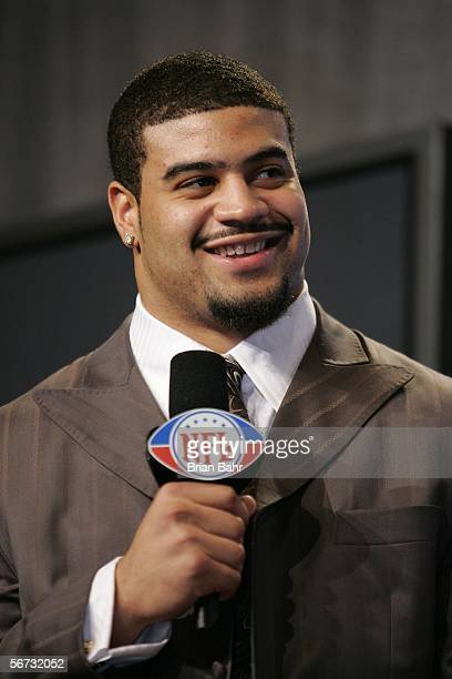 Shawne Merriman of the San Diego Chargers speaks during the Diet Pepsi Rookie of the Year Press Conference prior to Super Bowl XL February 2 2006 at...