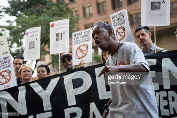 Shawntay Owens former drug addict and now an outreach worker speaks during a protest denouncing the city's 'inadequate and wrongheaded response' to...
