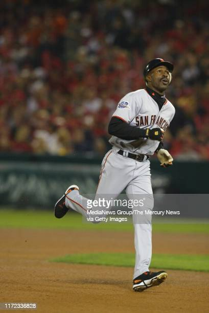 Shawon Dunston runs the bases after a two-run homer that went over the left field fence in the 5th inning against the Angels. Today was Game 6 of the...