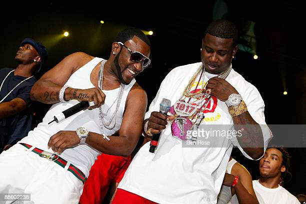 Shawty Lo and Gucci Mane perform during the Hot 1079 Birthday Bash 14 at Philips Arena on June 20 2009 in Atlanta Georgia