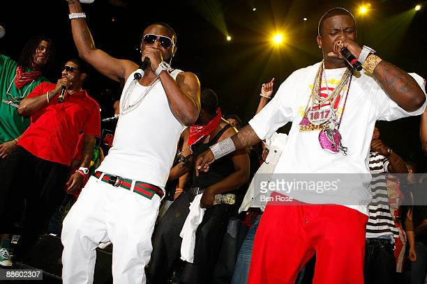 Shawty Lo and Gucci Mane pose backstage during the Hot 1079 Birthday Bash 14 at Philips Arena on June 20 2009 in Atlanta Georgia