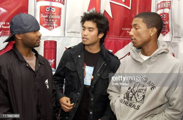 Shay Chad Hugo and Pharrell Williams of NERD during 'Smirnoff Experience' Music Tour Kick Off with NERD New York City at Union Square in New York...