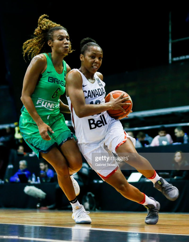 Shay Colley of Canada (R) fights for the ball with Joice Rodrigues of Brazil (L) during a match between Canada and Brazil as part of the FIBA Women's AmeriCup Semi Final at Obras Sanitarias Stadium on August 12, 2017 in Buenos Aires, Argentina.