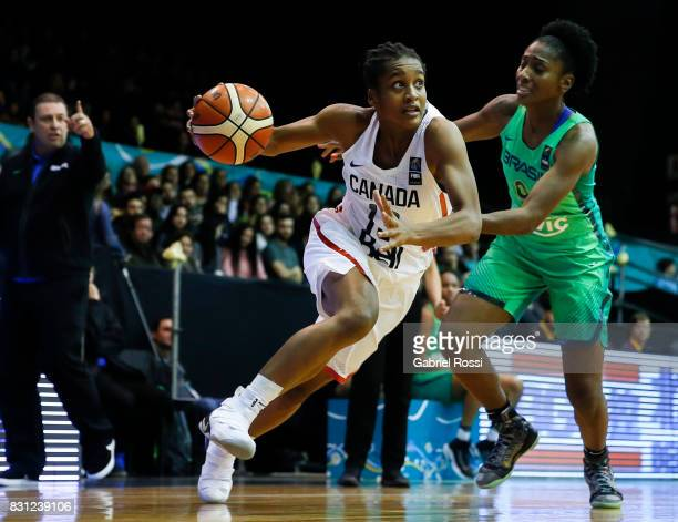 8a0b2d66d38 Shay Colley of Canada is challenged by Jaqueline De Paula of Brazil during  a match between
