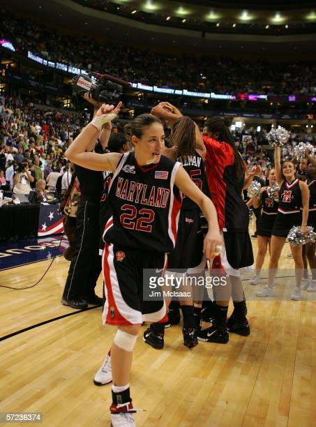 Shay Doron of the Maryland Terrapins celebrates after their 8170 victory over the North Carolina Tar Heels during the 2006 Women's NCAA Basketball...