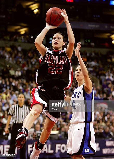 Shay Doron of the Maryland Terrapins puts up a shot over Abby Waner of the Duke Blue Devils during the 2006 NCAA Women's Basketball Championship Game...