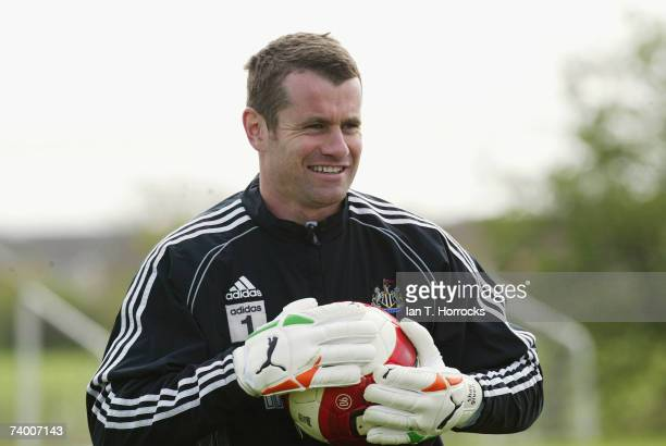 Shay Given looks on during a Newcastle United training session on April 27 2007 in NewcastleuponTyne England