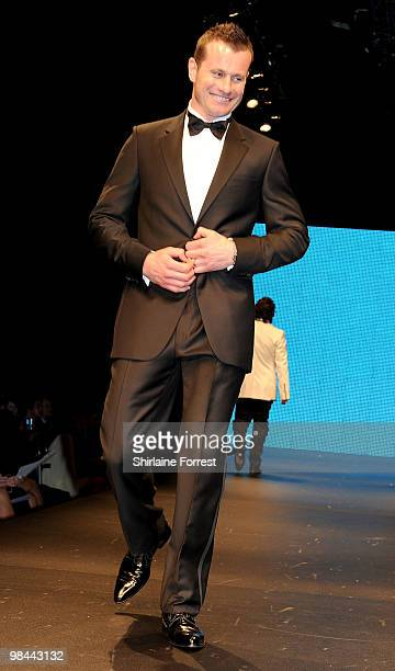 Shay Given models Selfridges collection at Fashion Kicks in aid of Macmillan Cancer Relief at Old Trafford Cricket ground on April 13, 2010 in...