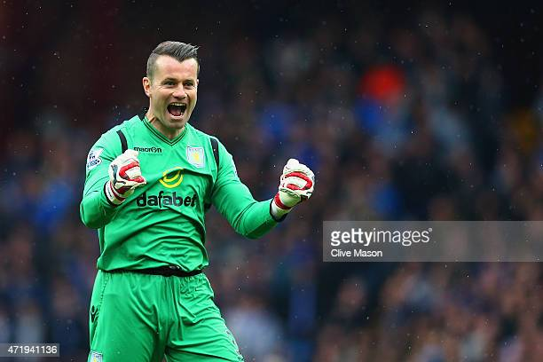 Shay Given of Aston Villa celebrates during the Barclays Premier League match between Aston Villa and Everton at Villa Park on May 2, 2015 in...