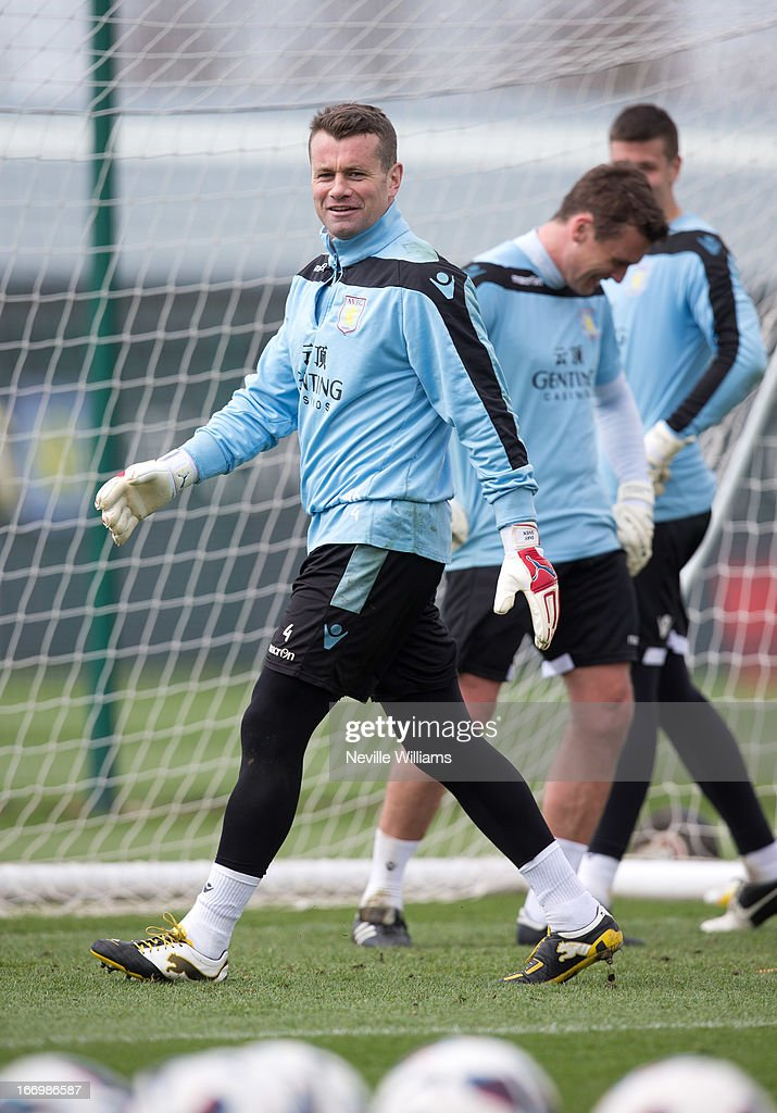 Shay Given of Aston Villa in action during a Aston Villa training session at the club's training ground, Bodymoor Heath on April 19, 2013 in Birmingham, England.