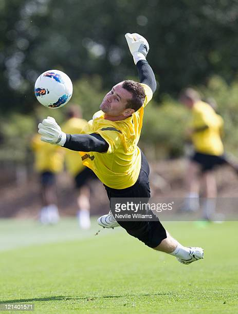 Shay Given of Aston Villa in action during an Aston Villa training session at the club's training ground at Bodymoor Heath on August 19, 2011 in...