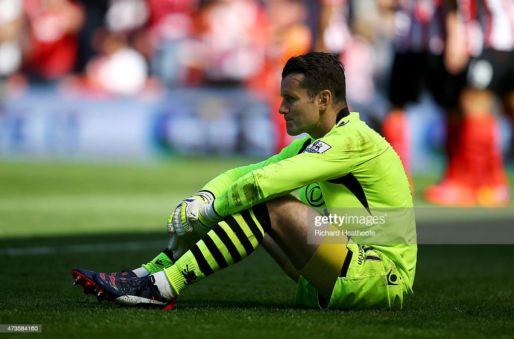 Shay Given of Aston Villa reacts after conceding the sixth goal during the Barclays Premier League match between Southampton and Aston Villa at St Mary's Stadium on May 16, 2015 in Southampton, England.