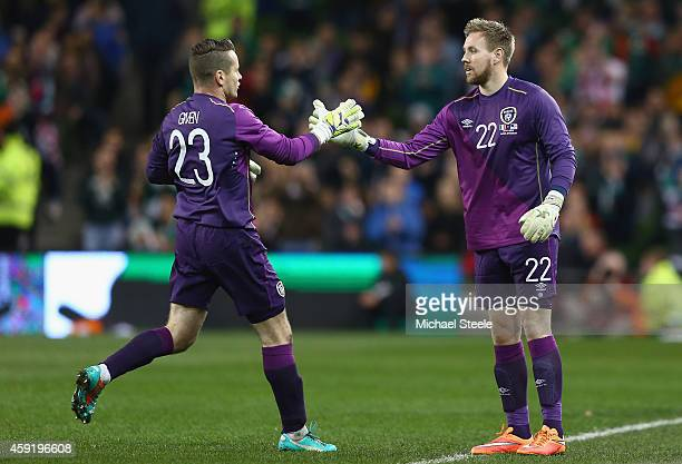 Shay Given of Ireland shakes hands with Rob Elliot after being substituted during the International Friendly match between the Republic of Ireland...