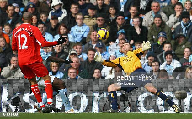 Shay Given of Manchester City makes a point blank save from Afonso Alves of Middlesbrough during the Barclays Premier League match between Manchester...