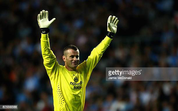 Shay Given of Newcastle celebrates the first Newcastle goal during the Carling Cup, Second Round match between Coventry City and Newcastle United at...