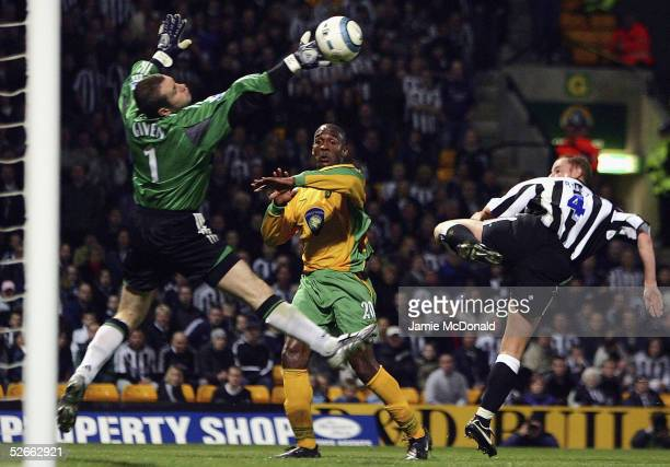 Shay Given of Newcastle saves from Damien Francis of Nowich during the Barclays Premiership match between Norwich City and Newcastle United at Carrow...