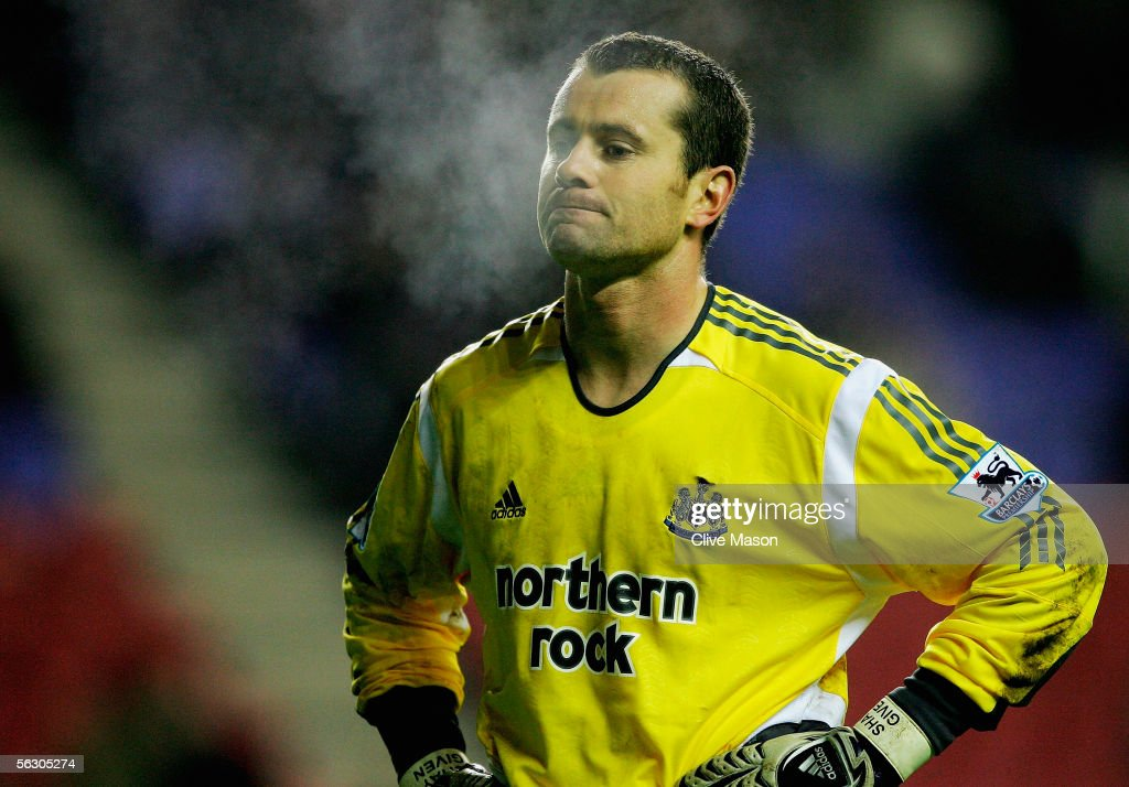 Shay Given of Newcastle United looks dejected during the Carling Cup, fourth round match between Wigan Athletic and Newcastle United at the JJB Stadium on November 30, 2005 in Wigan, England.