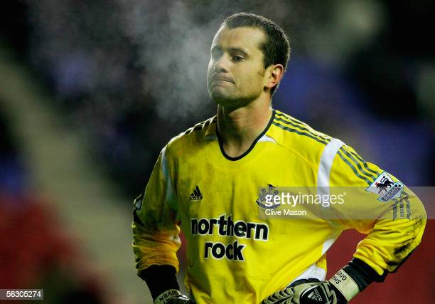 Shay Given of Newcastle United looks dejected during the Carling Cup, fourth round match between Wigan Athletic and Newcastle United at the JJB...