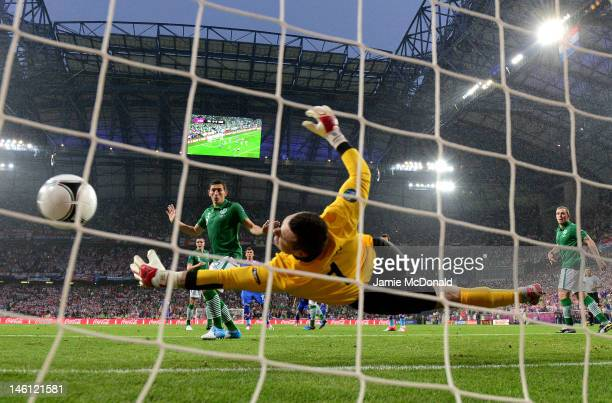 Shay Given of Republic of Ireland fails to stop the first goal from Mario Mandzukic of Croatia during the UEFA EURO 2012 group C between Ireland and...