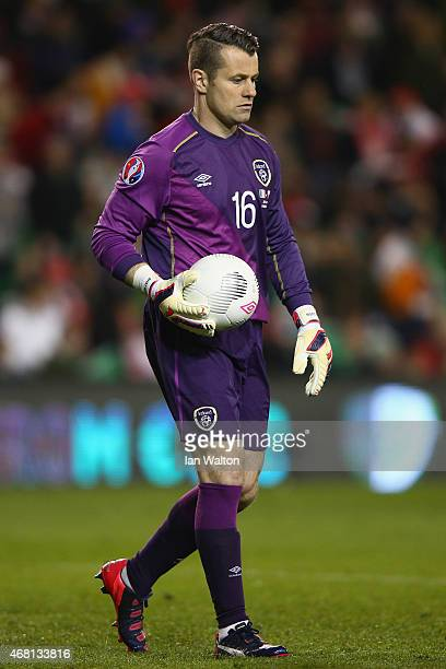 Shay Given of Republic of Ireland in action during the Euro 2016 qualifying football match between Republic of Ireland and Polandat Aviva Stadium on...