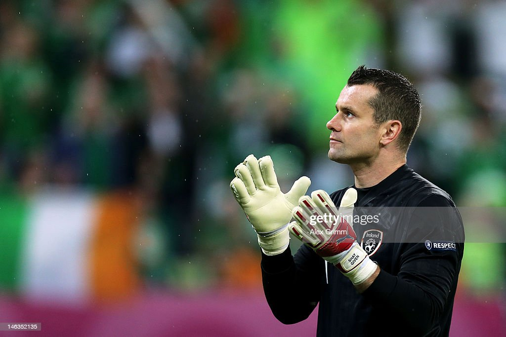Shay Given of Republic of Ireland looks on during the UEFA EURO 2012 group C match between Spain and Ireland at The Municipal Stadium on June 14, 2012 in Gdansk, Poland.