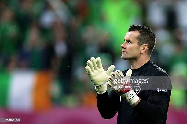 Shay Given of Republic of Ireland looks on during the UEFA EURO 2012 group C match between Spain and Ireland at The Municipal Stadium on June 14,...