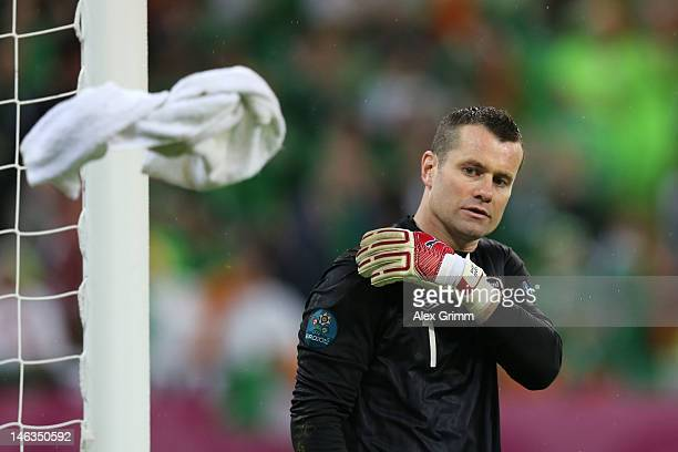 Shay Given of Republic of Ireland tosses the towel during the UEFA EURO 2012 group C match between Spain and Ireland at The Municipal Stadium on June...