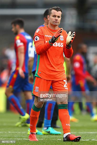 Shay Given of Stoke City claps the fans after the game during the Premier League match between Crystal Palace and Stoke City at Selhurst Park on...