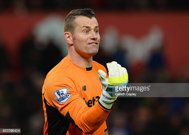 Shay Given of Stoke City organises his defence during the Barclays Premier League match between Stoke City and Tottenham Hotspur at the Britannia...
