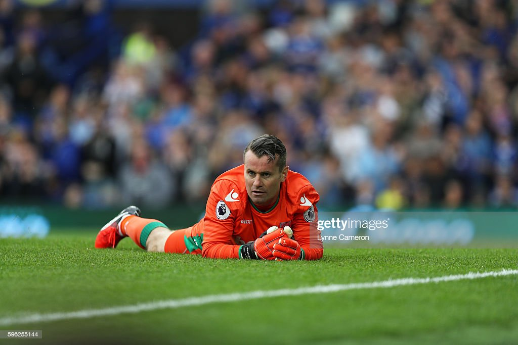 Shay Given of Stoke City reacts after failing to save a penalty during the Premier League match between Everton and Stoke City at Goodison Park on August 27, 2016 in Liverpool, England.