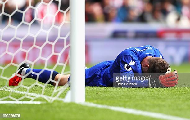 Shay Given of Stoke City reacts during the Premier League match between Stoke City and Manchester City at Bet365 Stadium on August 20 2016 in Stoke...