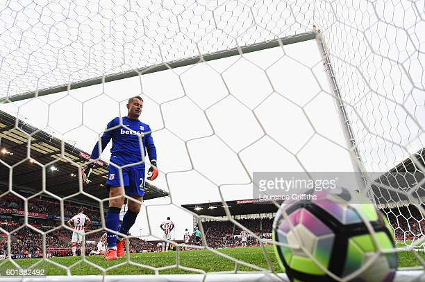 Shay Given of Stoke City shows his disappointment as he collects the ball from the back of the net during the Premier League match between Stoke City...