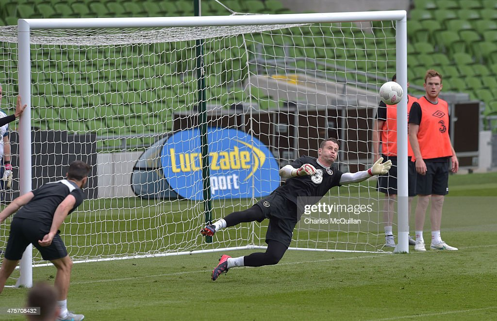 Shay Given of the Republic of Ireland during a training session at Aviva Stadium on June 3, 2015 in Dublin, Ireland. The Republic of Ireland play England in a friendly game this coming Sunday, the first meeting between the two sides in Dublin since the abandonment of a game in 1995 due to hooliganism.