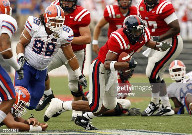 Shay Hodge of the Mississippi Rebels runs against Clint McMillan of the Florida Gators on September 22 2007 at VaughtHemingway Stadium/Hollingsworth...
