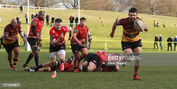 Shay Kerry of Ampthill chases after the loose ball during the Greene King IPA Championship match between Ampthill and Cornish Pirates at Dillingham...