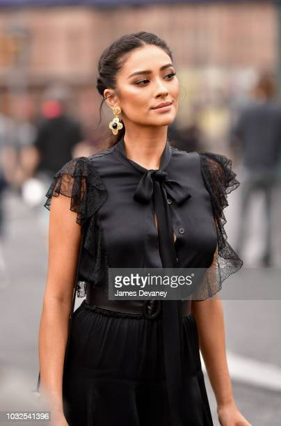 Shay Mitchell arrives to the Michael Kors fashion show at Pier 17 on September 12 2018 in New York City