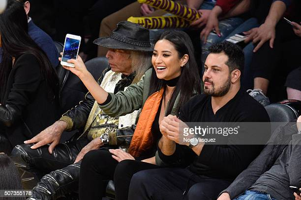 Shay Mitchell attends a basketball game between the Chicago Bulls and the Los Angeles Lakers at Staples Center on January 28 2016 in Los Angeles...