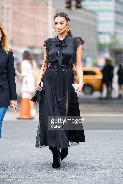Shay Mitchell attends the Michael Kors fashion show during New York Fashion Week The Shows at Pier 17 in the South Street Seaport on September 12...