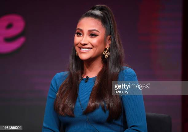 Shay Mitchell of 'Dollface' speaks onstage during the Hulu segment of the Summer 2019 Television Critics Association Press Tour at The Beverly Hilton...