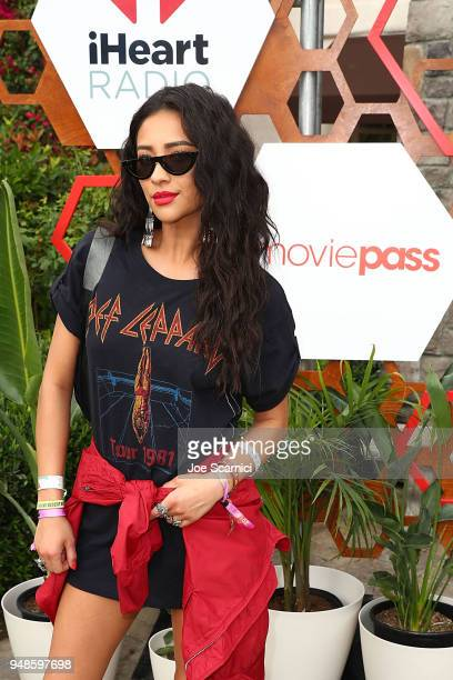 Shay Mitchell poses for a photo at the MoviePass x iHeartRadio Festival Chateau at The Chateau at Lake La Quinta on April 15 2018 in La Quinta...