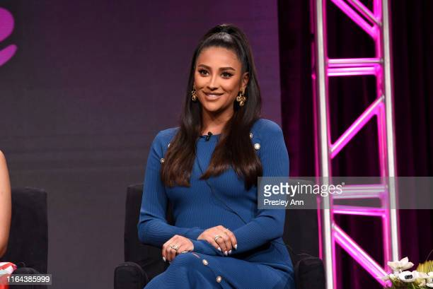 Shay Mitchell speaks onstage during the Hulu 2019 Summer TCA Press Tour at The Beverly Hilton Hotel on July 26 2019 in Beverly Hills California