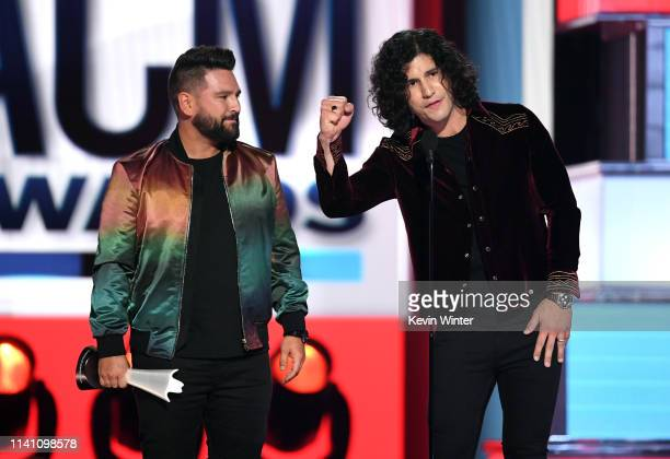Shay Mooney and Dan Smyers of Dan Shay accept the Duo of the Year award onstage during the 54th Academy Of Country Music Awards at MGM Grand Garden...