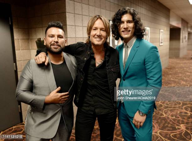 Shay Mooney of Dan Shay Keith Urban and Dan Smyers of Dan Shay pose backstage during the 54th Academy Of Country Music Awards at MGM Grand Garden...
