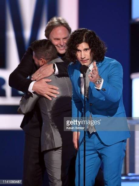 Shay Mooney of Dan Shay Scott Hendricks and Dan Smyers of Dan Shay accept the Single of the Year award for 'Tequila' onstage during the 54th Academy...