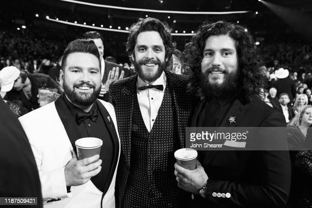 Shay Mooney Thomas Rhett and Dan Smyers inside during the 53rd annual CMA Awards at the Bridgestone Arena on November 13 2019 in Nashville Tennessee
