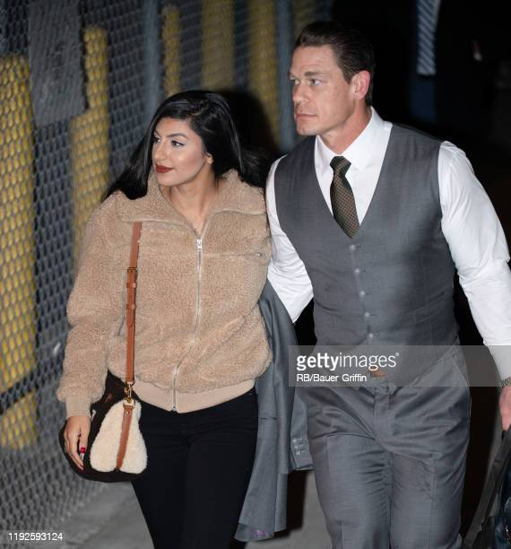 Shay Shariatzade and John Cena are seen at 'Jimmy Kimmel Live' on January 08 2020 in Los Angeles California