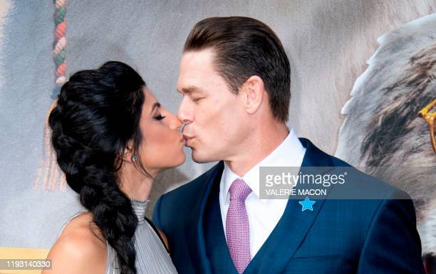 Shay Shariatzadeh and actor John Cena attend the Premiere of the movie Dolittle at the Regency Village Theater in Westwood California on January 11...