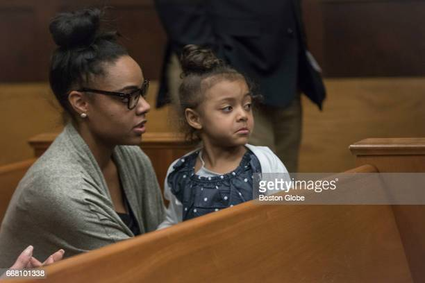 Shayanna Jenkins sits in the courtroom for the double murder trial of her fiancee former New England Patriots tight end Aaron Hernandez at Suffolk...