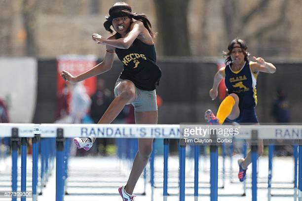 Shayla Broughton Medgar Evers College Prep High School winning the Girls 100m Hurdles during the 2013 NYC Mayor's Cup Outdoor Track and Field...