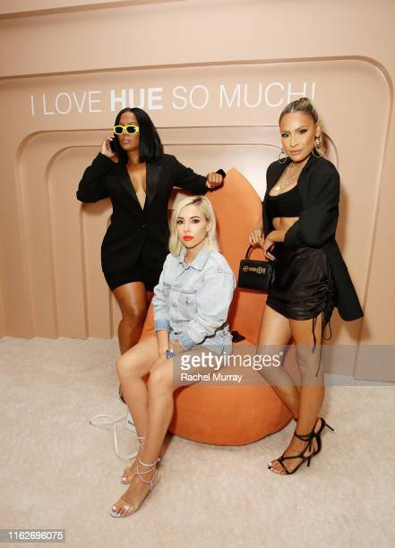 Shayla Mitchell Katie DeGroot and Desi Perkins attend Dose of Colors presents MEET YOUR HUE POP UP on July 17 2019 in Beverly Hills California